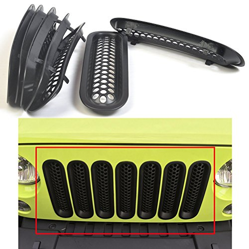 MOEBULB Upgrade Clip in Version Mesh Front Grill Insert Grille Cover Trim for 2007-2015 Jeep Wrangler JK 2-Door & 4-Door (Without Key Hole, Matte Black)