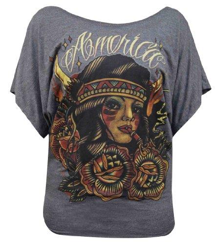 America by Johnny Gargan Short Sleeve Dolman Native American Tattoo T-Shirt Top