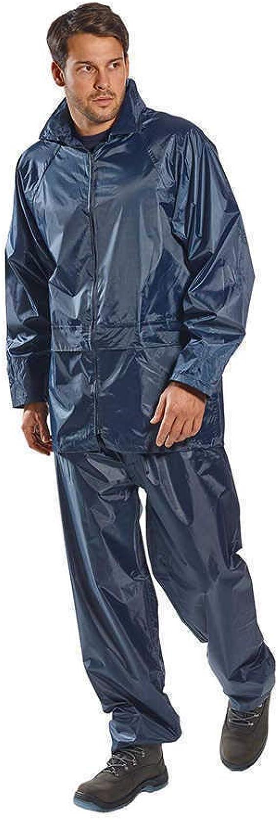 Portwest BLACK Oban Fleece Lined Waterproof PVC Coated Rain Jacket S523