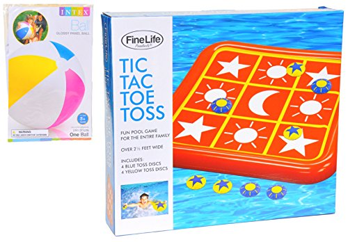 Extra Large Big Tic Tac Toe Toss Swimming Pool Inflatable Game Toy Unique Fun Summer Gift Idea for Adults Kids Teens Boys Girls with Intex Inflatable Ball