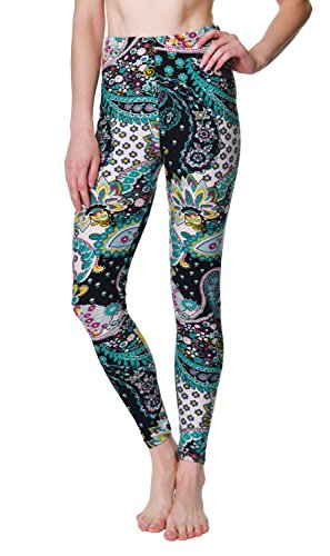 (VIV Collection Plus Size Printed Brushed Ultra Soft Leggings (Rainforest Paisley))