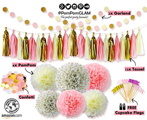 THE PERFECT ALL OCCASION's Pink Gold Party Decorations Kit for First Birthday, Baby Girl Shower, Bachelorette, Bridal & Wedding event - Premium Quality By PomPomGLAM