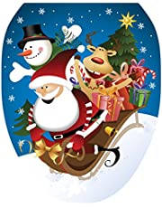 Toilet Tattoos, Toilet Seat Cover Decal,Christmas Joy Riding, Size Elongated
