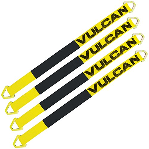 Vulcan Classic 1-Ply Flexible Auto Tie Down Axle Strap with Wear Pad (2 x 36 - Pack of 4) Safe Working Load - 3,300 lbs.