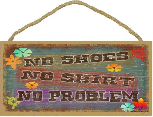 Blackwater Trading No Shoes No Shirt No PROBLEM Tropical BEACH Flowers TIKI BAR Seaside SIGN Plaque 5