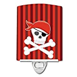 Caroline's Treasures Pirate Skull and Cross Bones Ceramic Night Light, Red, 6'' x 4''