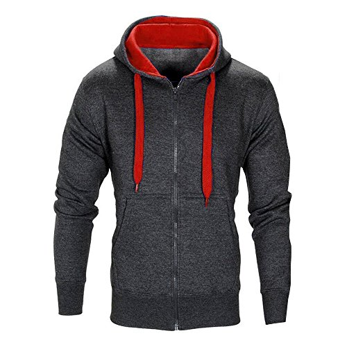 QBQCBB Men Casual Hooded Zipper Long Sleeve Solid Color Gym Sports Pullover(Dark Gray,XL)