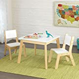 KidKraft 3-piece White and Natural Modern Table and Chair Set, 23.6 x 23.6 x 19 inches