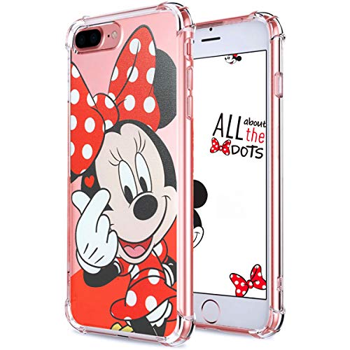 """Logee TPU Minnie Mouse Cute Cartoon Clear Case for iPhone 8 Plus/7 Plus 5.5"""",Fun Kawaii Animal Soft Protective Cover,Ultra-Thin Shockproof Funny Character Cases for Kids Teens Girls Boys(8Plus)"""