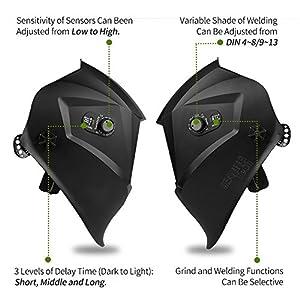 LEANINGTECH ATX03 Solar Power Auto Darkening Welding Helmet, Adjustable Headband, Large View Area, Wide Shade Range DIN 4-8/9-13, Face Protector for Arc Tig Mig Grinding Plasma Cutting
