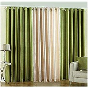 HVF THREADS Polyester Window Curtain, 4 X 5, Green, Pack of 3