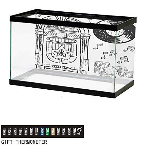 wwwhsl Aquarium Background,Jukebox,Doodle Style Retro Music Box Notes Coins Long Play Vintage Sketchy Artwork,Black and White Fish Tank Backdrop 60