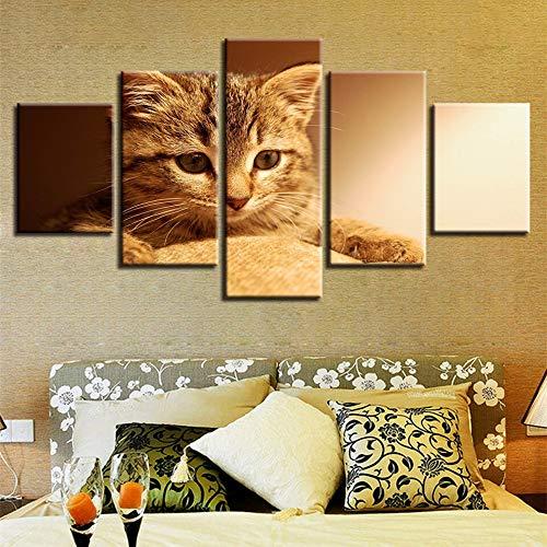 GUDOJK Decoración Living Ro Wall Art Framework HD Imprime 5 Piezas Animal Gato Encantador Pinturas Obras de Arte Cartel Modular Lienzo Imágenes 20x35 20x45 20x55cm