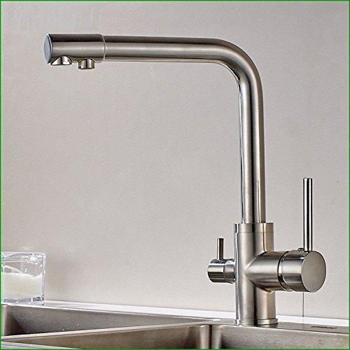 Gyps Faucet Waschtisch-Einhebelmischer Waschtischarmatur Badarmatur der Kupfer Nickel gebürstet Zwei Dual-Head Küchenarmatur spüle Spüle mit Warmen und kaltem Wasser Mischen Schraubenschlüssel