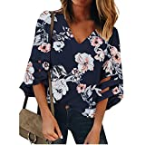 Pongfunsy Women's Summer Tops, Women's 3/4 Bell Sleeve Shirt Loose Casual Mesh Panel Blouse Trendy Patchwork Top 2019 (M, Navy)