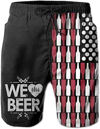 f37bcaf1b58d7 Yunilya Beer USA Flag Men's Summer Beach Quick-Dry Surf Swim Trunks  Boardshorts Cargo Pants