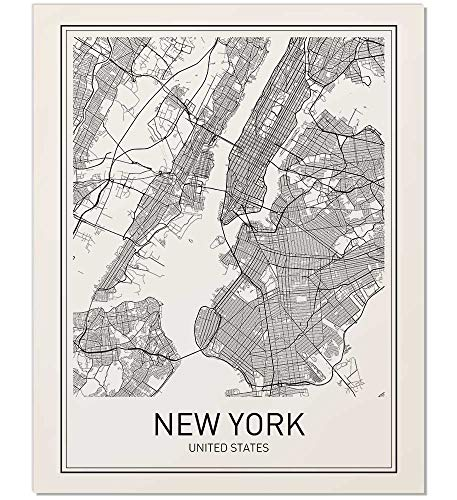 Poster Skyline City (New York Poster, New York Map, New York City, City Map Posters, NYC, New York Print, New York Art, New York Art, Minimalist Art, Map Wall Art, New York Map Art, NYC Poster, 8x10)