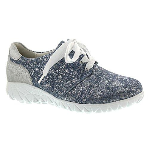 de Pour Lacets Ville Jeans Femme Chaussures Waldläufer Havy Silber à qYXEw7x