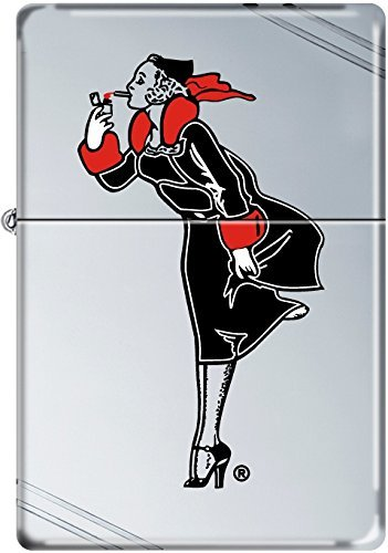 (Zippo Windy Girl Black and Red Vintage High Polish Chrome Windproof Lighter New)