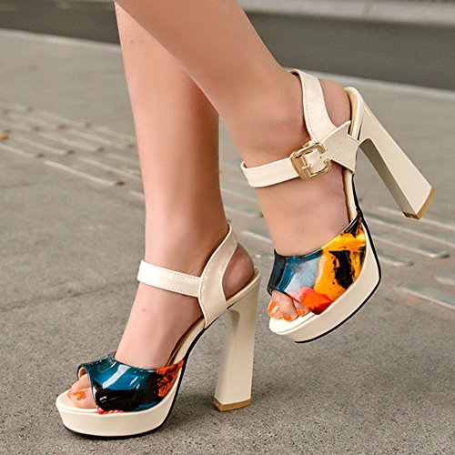 Shoes Strap Beige Slingback TAOFFEN Ankle Floral Sandals Heel High Women Block Fashion xHq7FTR