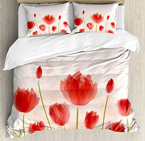 Floral Queen Size Duvet Cover Set by Ambesonne, Romantic Tulip Blooms Flower Meadow Fresh Feminine Watercolor Paint Effect, Decorative 3 Piece Bedding Set with 2 Pillow Shams, Vermillion Green Peach