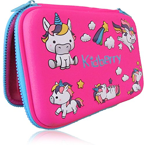 Pencil case for kids, The original brand Kidberry pen case for kids,pencil pouch, girls pencil case, Cute Unicorn 3D Unique design pencil box, comes with a matching Pom Pom key chain in a gift box by Kidberry