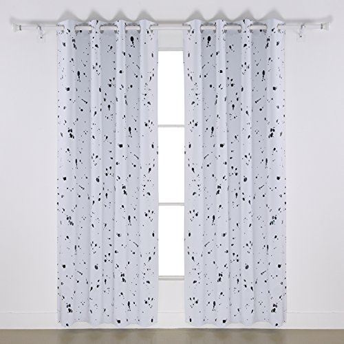 Deconovo Home Fashion Black Dots Foil Printed On White Thermal Insulated Blackout  Curtains Grommet Curtains For Nursery 52 W X 63 L 1 Pair