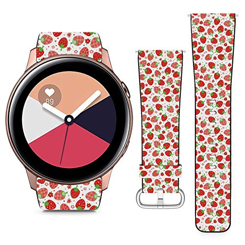 Compatible with Samsung Galaxy Watch Active // 20mm Leather Replacement Bracelet Strap Wristband with Quick Release Pins // Ornament Red Strawberries ()