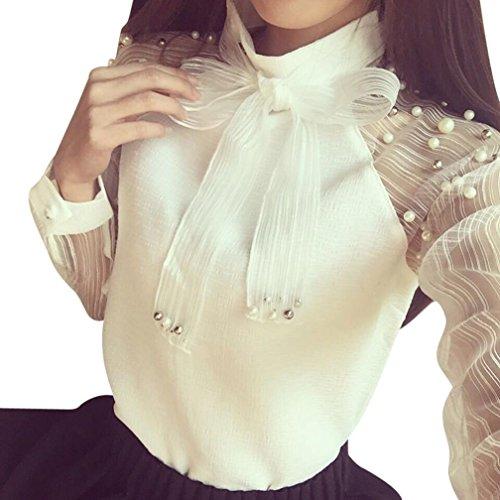 (Orangeskycn Women's Casual Blouses Bow Tie Neck Ladies Lace Patchwork Office Shirt Tops)