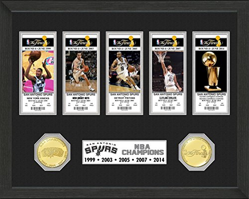 NBA San Antonio Spurs 5-Time Champions Bronze Coin Ticket Collection, 22'' x 15'' x 4'' by The Highland Mint