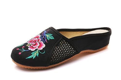 743df2eb Sandalias Mujer/Sandalia con Pulsera para Mujer/En Primavera, Verano y  Elegantes Pendientes con Zapatillas Bordadas Niña China Viento Zapatos de  Tela: ...