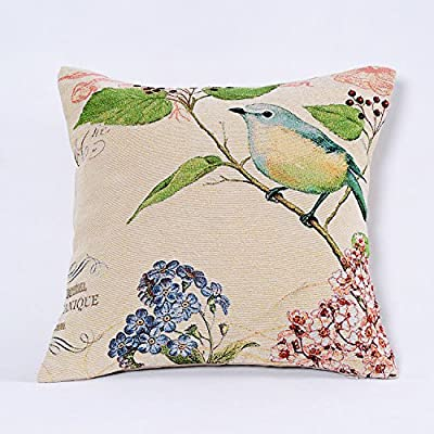 SimpleDecorJacquard Bird On the Tree Accent Decorative Throw Pillow Case Hand Painted Cushion Cover Cute Traditional Chinese Painting 18X18""