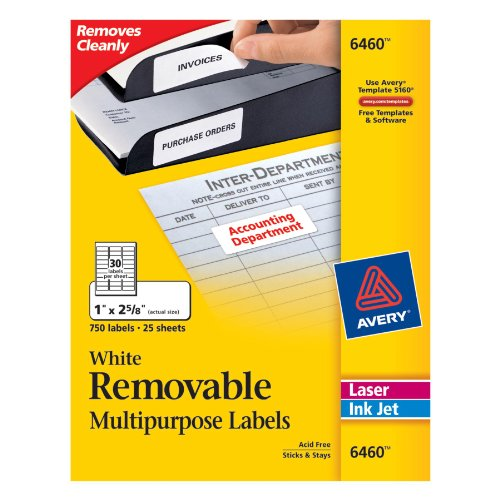 Avery Removable 1 x 2 5/8 Inch White ID Labels 750 Count (Avery Removable Label)