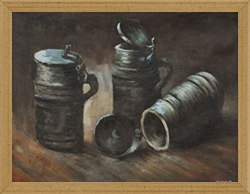 Vincent Van Gogh Poster Art Print and Frame (MDF) Victorian Gold - Still Life With Beer Tankards, 1884 (32 x 24 inches) (Tankard Victorian)