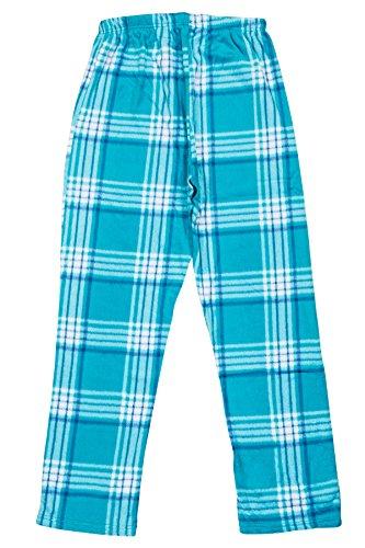 (North 15 - Girls Super Cozy Plaid Minky Fleece Pajama Bottom Lounge Pants-L1527G-Design1-7 Teal Blue)