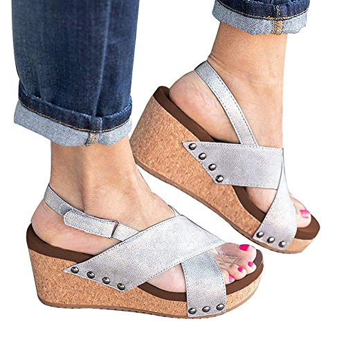 Athlefit Women's Strap Wedges Sandals Platform Faux Leather Cork High Heels Size 7.5 Silver ()