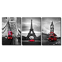 3 Panels Black White Pairs Eiffel Tower Red Car London's Big Ben Clock London Bridge Red Bus Canvas Wall Art, Ready to Hang Living Room Bedroom Office (16X24inchX3)