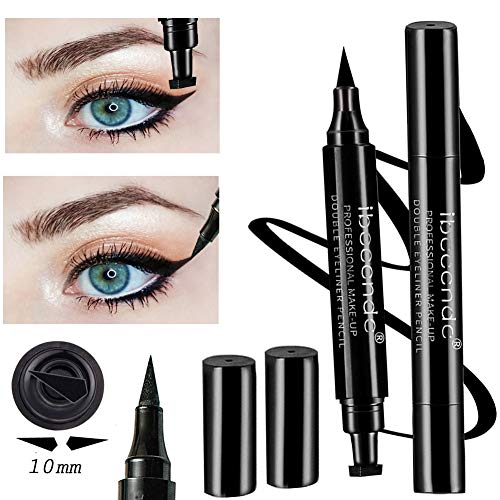 Eyeliner Stamp Double Head Pencil Liquid Pen Waterproof Smudgeproof Wingliner Cat Eye Wings Stencil Long-lasting Makeup No Dripping (10mm) ()