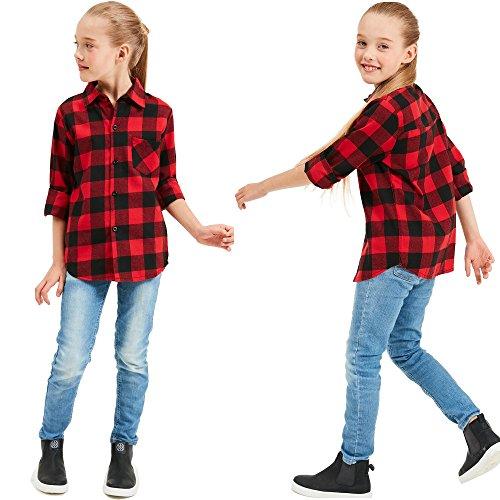 Grandwish Kids Long Sleeve Boy's Girl's Plaid Flannel Shirt Red Black 6 by Grandwish (Image #3)