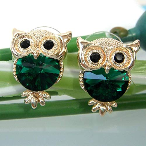 Lovely Owl Drop Earrings 18K