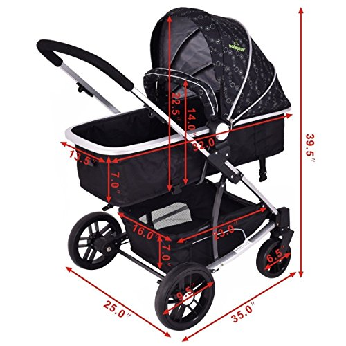 MD Group Baby Stroller 2-In-1 Foldable Aluminum Alloy Black Oxford Switchable Kids Travel by MD Group (Image #6)
