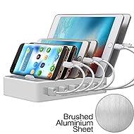 JZBRAIN Station de Charge USB avec 6 Ports USB de Recharge, Chargeur USB Multiple - 50W 5V10A Support de Charge pour Apple iPad iPhone Samsung Smartphones Tablettes, câbles NON inclus, Blanc