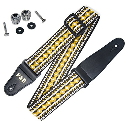 COOME Vintage Guitar Strap 2'' Adjustable Jacquard Woven Soft Cotton Guitar Strap with Leather Ends for Acoustic Electric Bass Guitar (Yellow) 2' Soft Leather Guitar Strap
