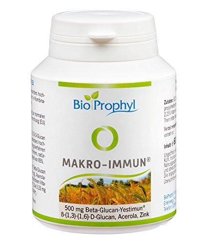 BioProphyl® Makro-Immun - 500 mg natürliches Yestimun® Beta Glucan mit natürlichem Vitamin C und Zink - qualitativ hochwertig - zur Unterstützung des Immunsystems und den Abwehrkräften - 60 Kapseln