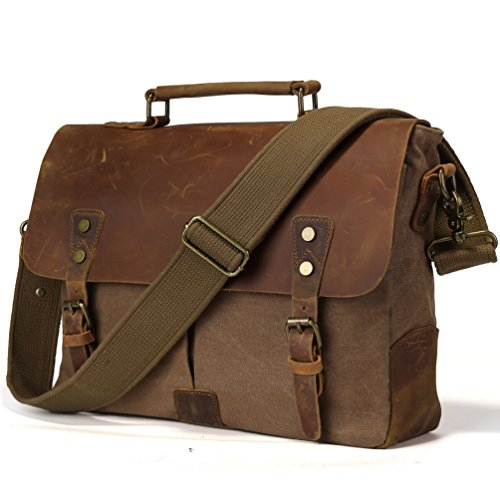 TIDING Men Retro Canvas Leather 14 Inch Laptop Vintage Messenger Bag Satchel Briefcase Cross Body Shoulder Bag