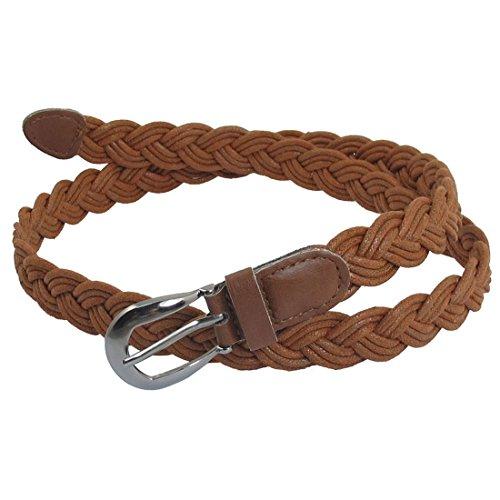 Allegra K Women Brown Single Prong Buckle Braided Faux Leather Waist Belt Brown One Size