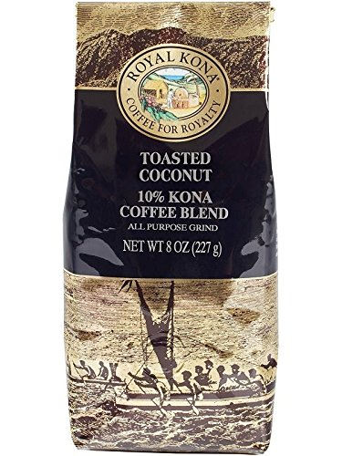 Royal Kona Coffee for Royalty TOASTED COCONUT, 10% KONA Coffee Blend, All Purpose Grind, 8 Ounce -