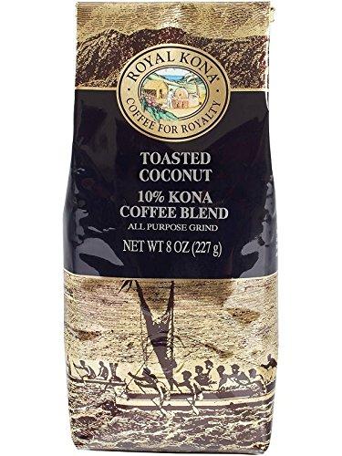 Royal Kona Coffee for Royalty TOASTED COCONUT, 10% KONA Coffee Blend, All Purpose Grind, 8 Ounce Bag ()
