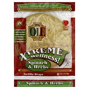 Ole Mexican Wrap Xtreme Spinach and Herb, 8 Count (Pack of 6)