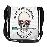 Lovebbag Hipster Skull With Punk Sunglasses And Arrow In Mouth Dead Vibes In Retro Graphic Print Crossbody Messenger Bag
